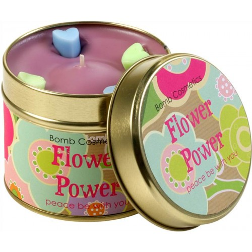 cosmotrade flower power patterned tin candle products